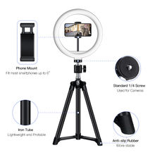 "LED Ring Light 10"" with Tripod Stand & Phone Holder for YouTube Video, Desk Selfie Ring Light Dimmable for Streaming"