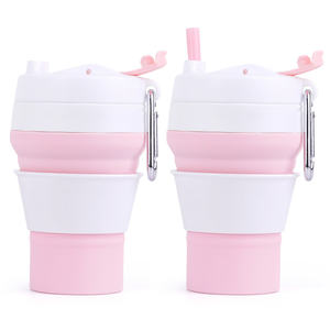 Oem New Design Reusable Foldable Silicone Rubber Drinking Coffee Cup Collapsible With Lid