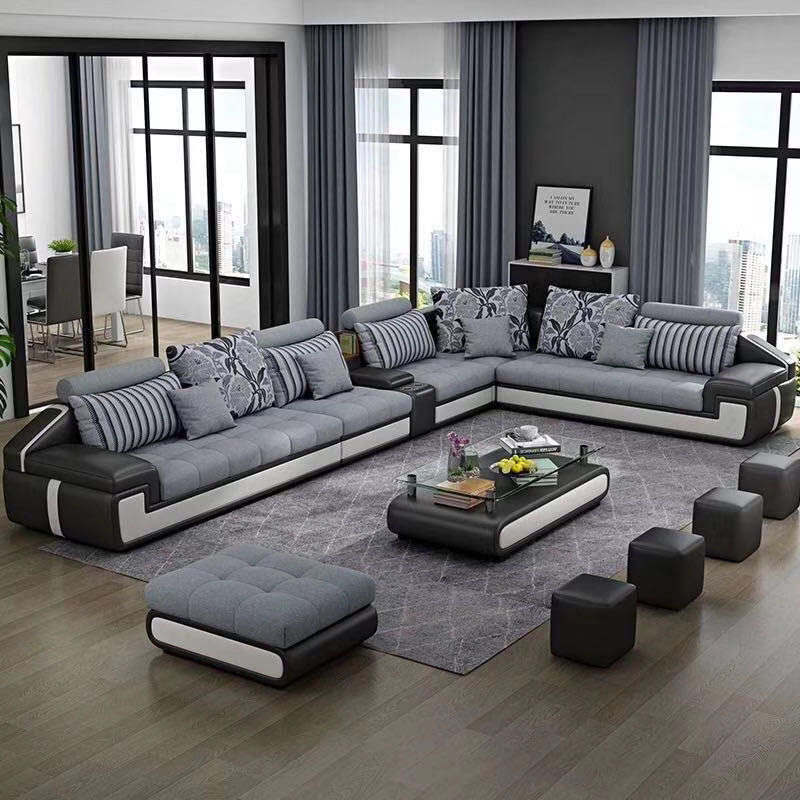 Furniture Factory 7 seater living room Furniture Fabric Chesterfield Sofa Bed Royal Sofa set designs Living Room Sofas