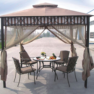 3x3m double layer gazebo chinese garden pavilion shade patio outdoor aluminum gazebo with mosquito netting