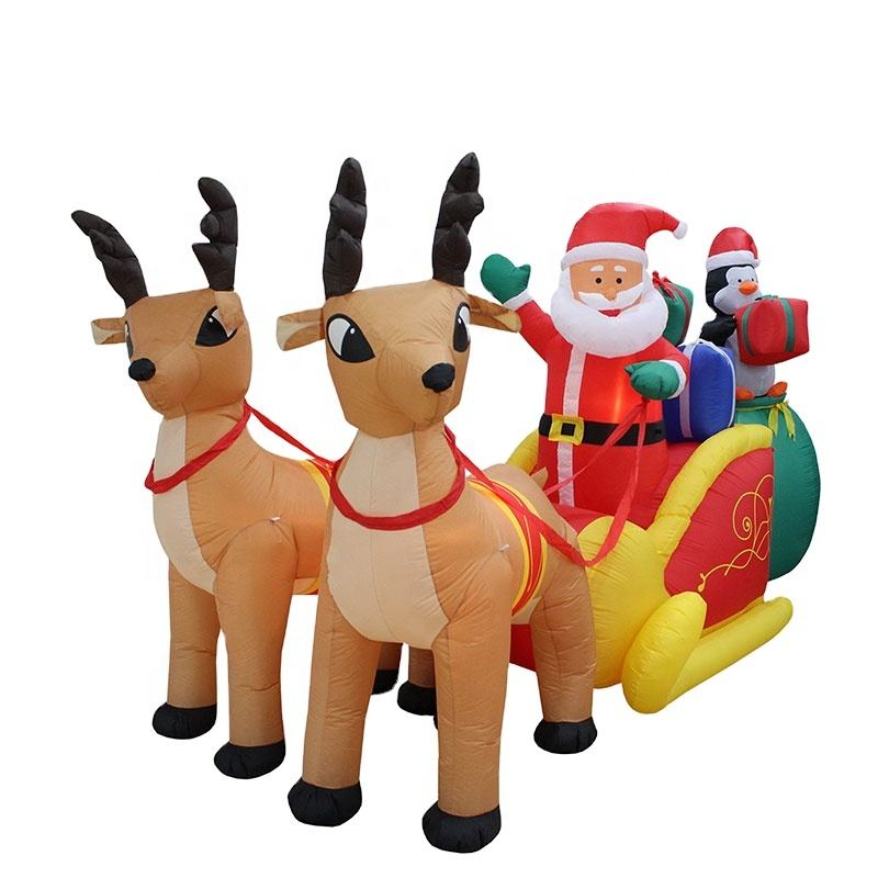 Durable factory price Christmas Decoration Inflatable Santa Claus and Reindeer