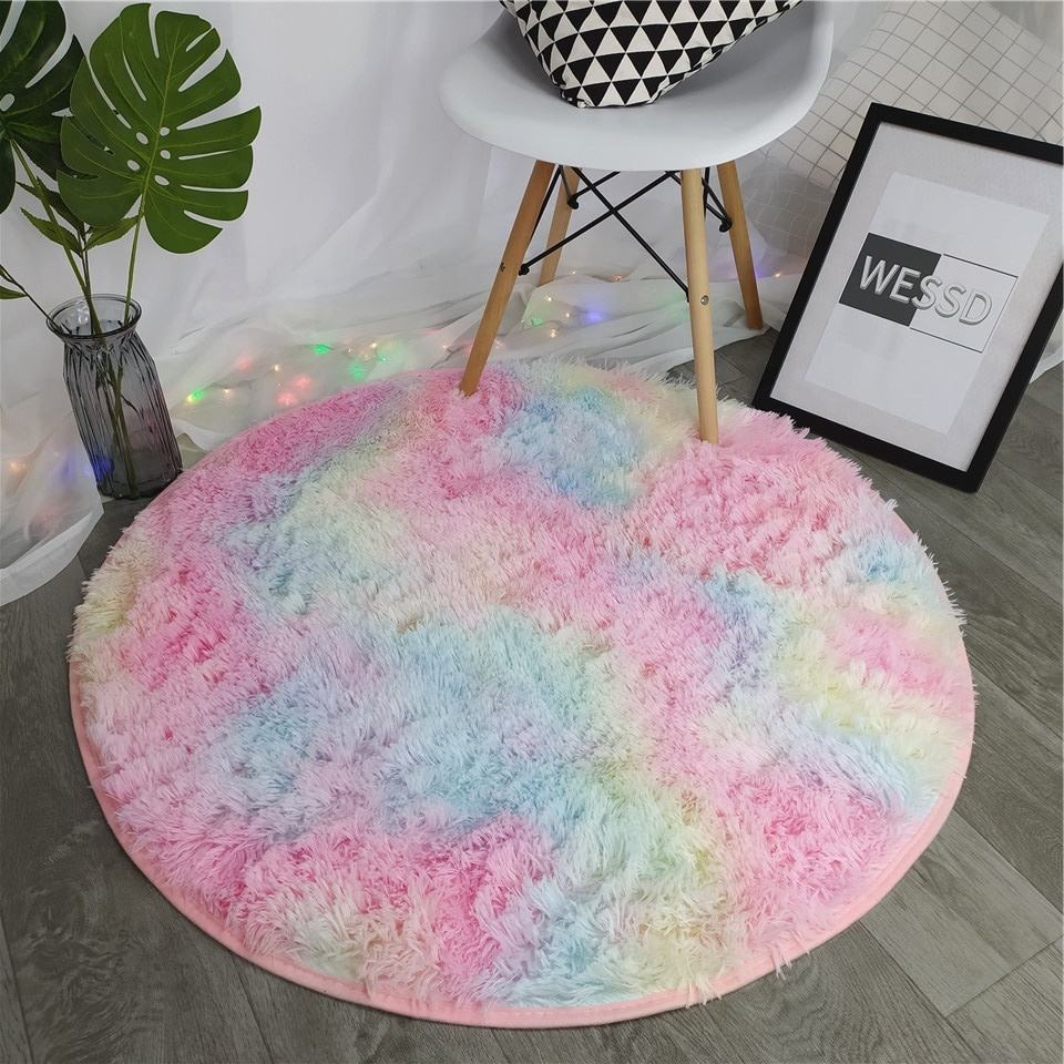 Rainbow Carpet Colorful Shaggy Soft Fluffy Plush Rug Mats Round Table Pad Hair Area Rugs Girl For Living Room Bedroom Decoration
