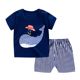 Wholesale baby boy clothes 2pcs set toddler summer baby boy t shirt strap shorts boys boutique outfits