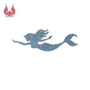 Customized Exquisite Handicrafts Metal Mermaid Decorations For Home Hanging Wall Arts