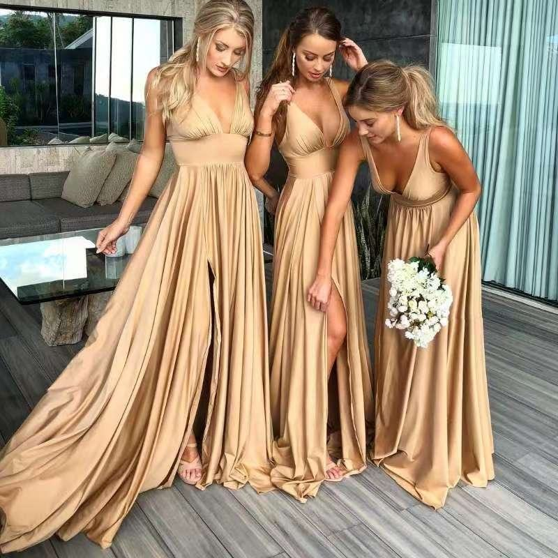7504# 100% Real Photos V-Neck Backless Rose Gold Celebrity Long Deep Sexy Slit Sleeveless Bridesmaid Dress