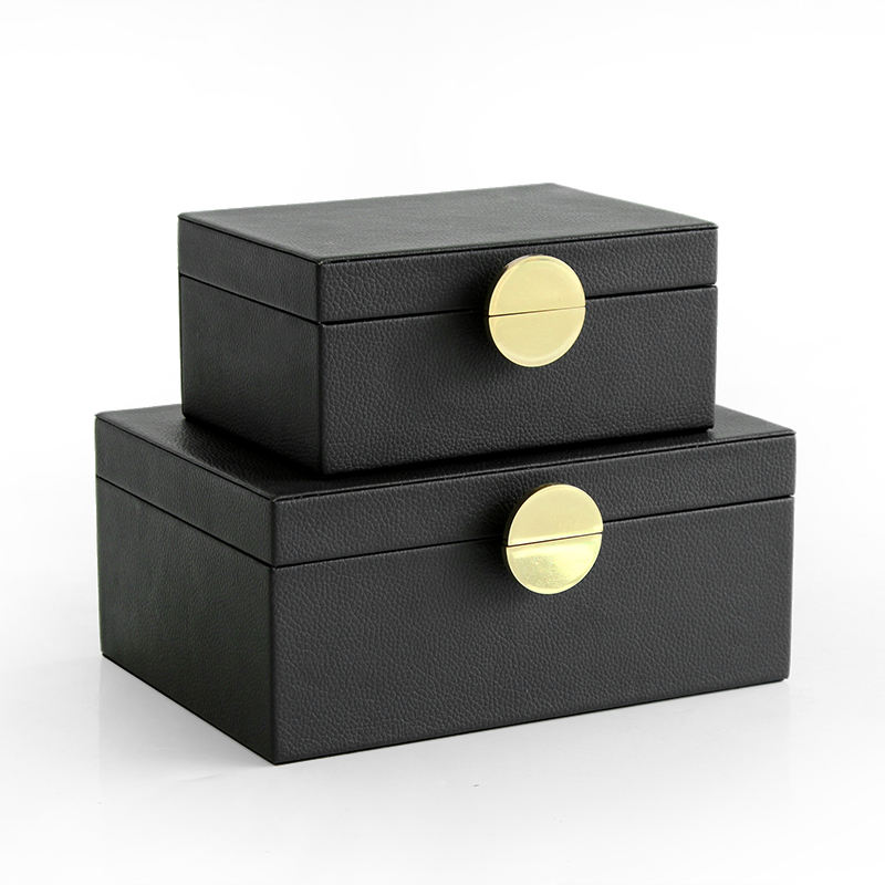 Modern style Black color PU leather Jewelry box with round shape handle