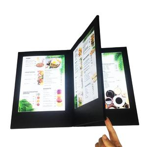 Customized cover UV printing 4 views 3 panels LED menu for A4 inserts, rechargeable LED menu folder for hotel restaurant