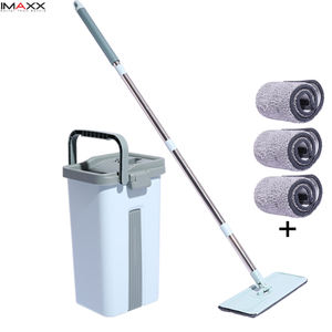 The Newest IMAXX Flat Quick Clean Mop 360 Microfiber Squeeze Mop Bucket with home dry and wet Mop