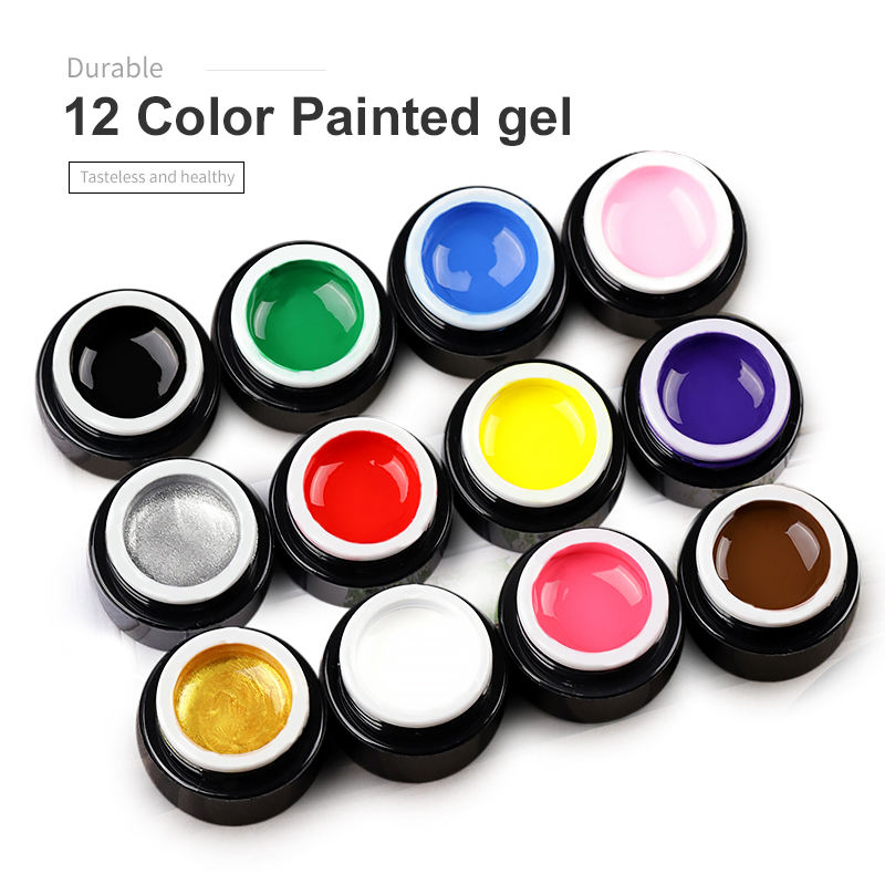 Professional custom CHJ-12 smooth and shiny surface uv gel Nail paint polish 12 color