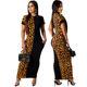 2020 High Quality Sexy Women Half Cheetah Leopard Print Maxi Bodycon Dress