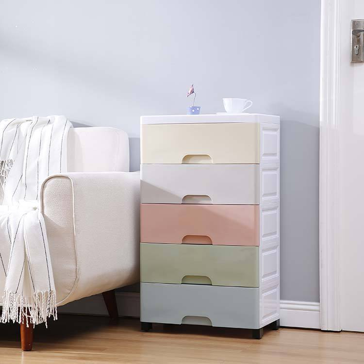 Hot Sale Rainbow Color Baby Plastic Drawer Cabinet