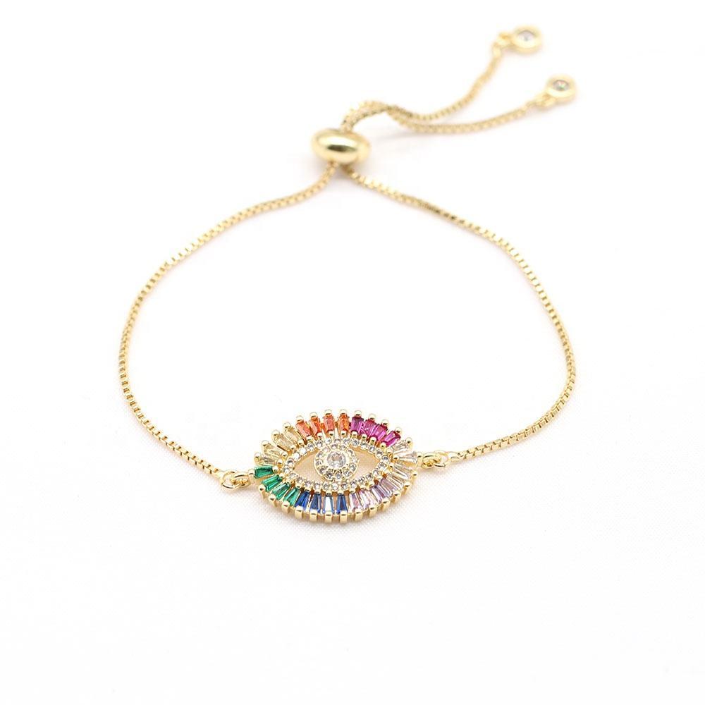 Fashion Accessories Gold Plated Devil's Eye Charm Bracelet Women Wholesale