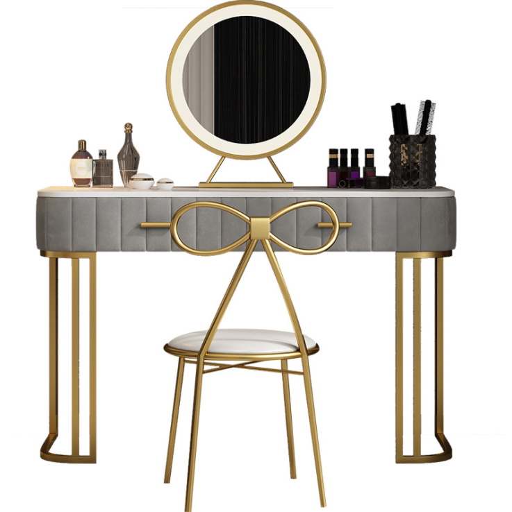 Nordic light luxury dressing table modern bedroom simple style marble princess makeup table