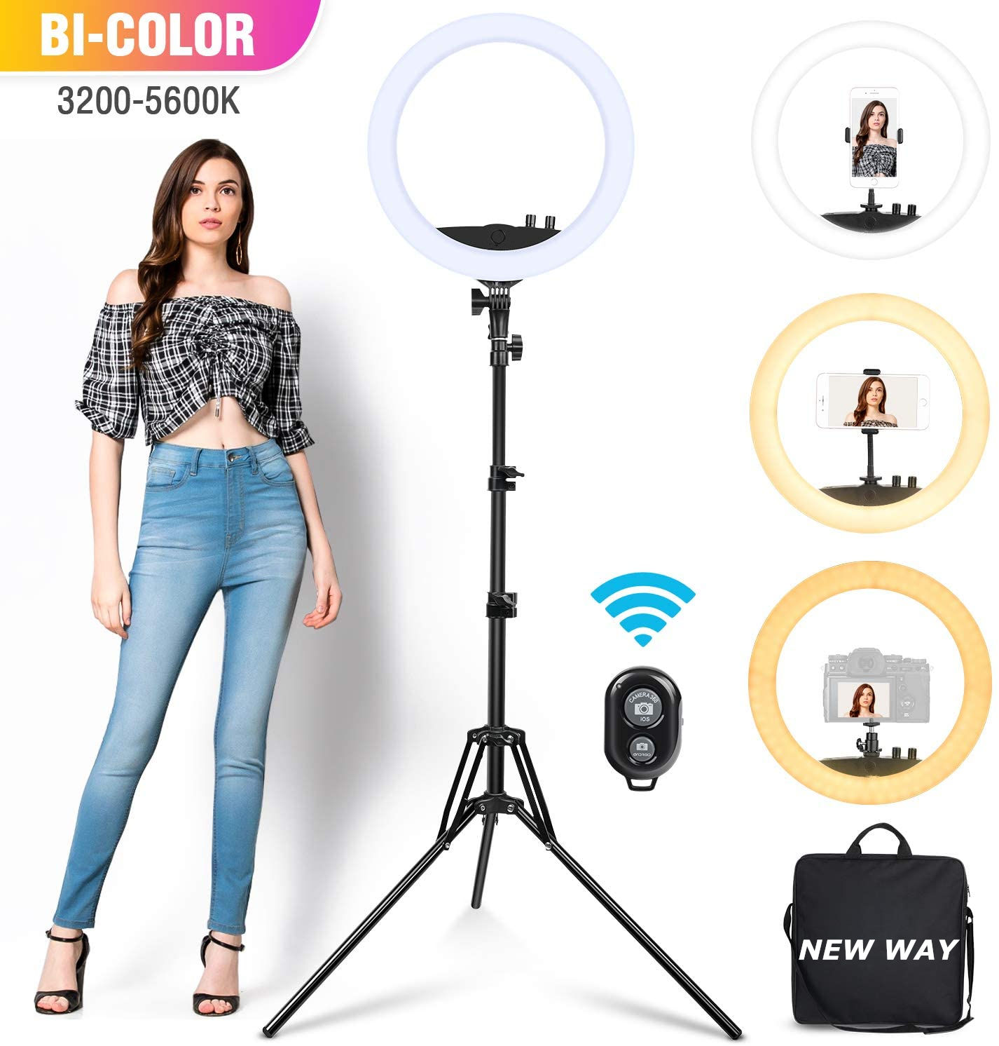 High Quality 24W Dimmable LED Ring Light 14 Inch 35cm with Hot Shoe Holder for most DSLR Camera and Phone