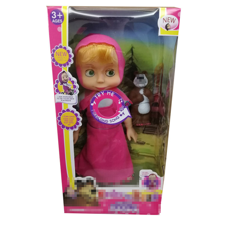 Wholesale New Design 14 Inch Lovely Vinyl Masha And Bear Pink Doll Kid Toy With Musical Toys Play House Soft For Girl