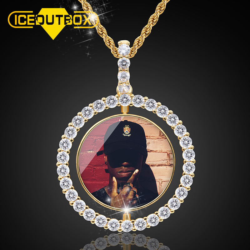 Twee Side Custom Picture Hanger Iced out Custom 18k <span class=keywords><strong>Vergulde</strong></span> Spinning Foto Hanger Ketting