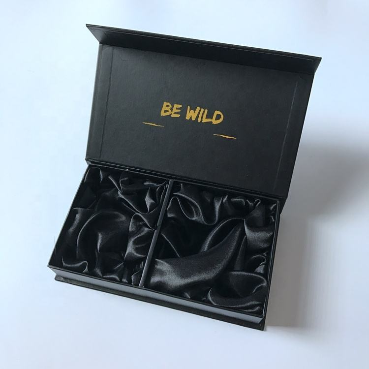 Custom luxury magnetic printed matt black packaging box with satin divider