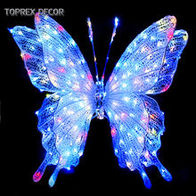 Garden wall decoration 3d led artificial flying butterfly