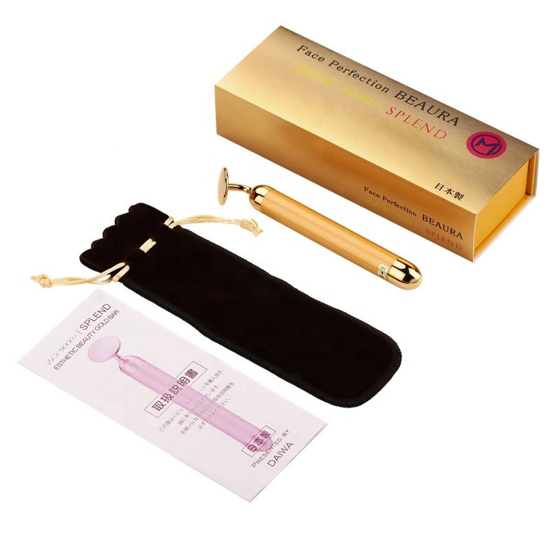 High frequency O-shaped vibrating 24K gold beauty bar for massage and absorption of skin care products