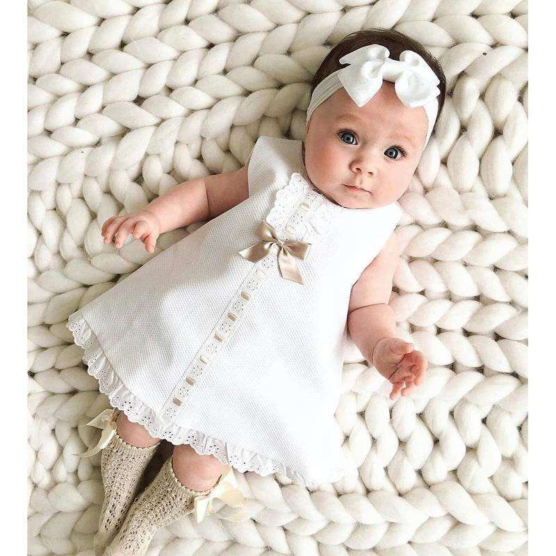 New White Easter Tutu Dress Cotton Girls Princess Costume Baby Girls Dress Cute Birthday Party Contains Headbands