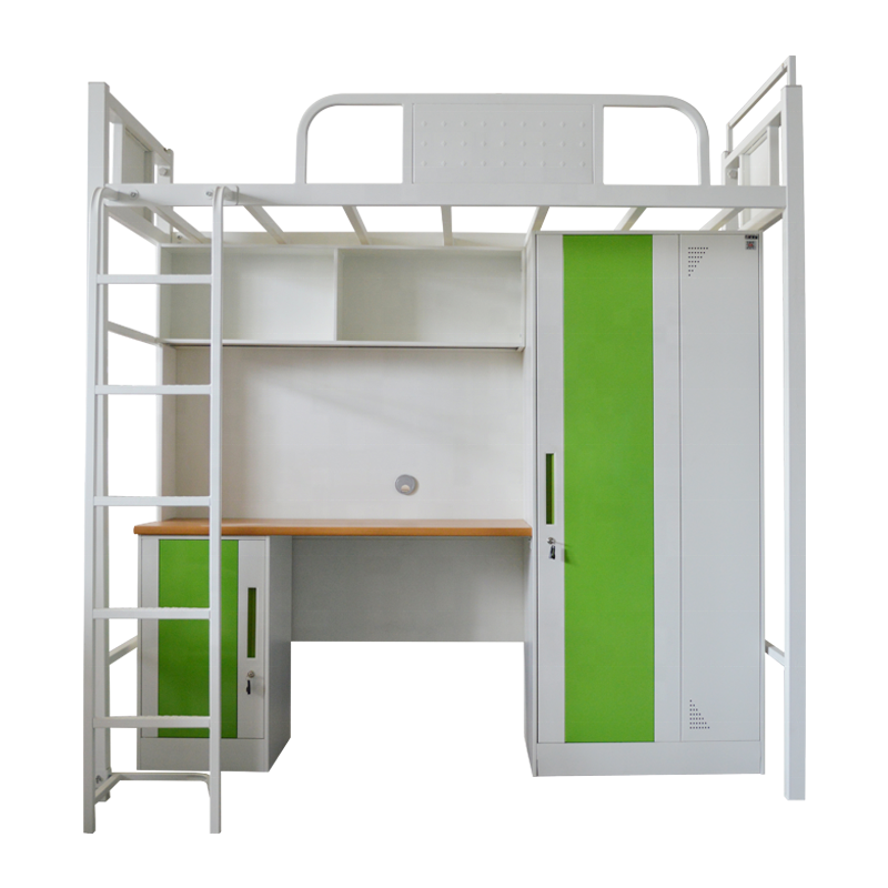 College student dormitory metal steel bunk bed with desk drawers study table