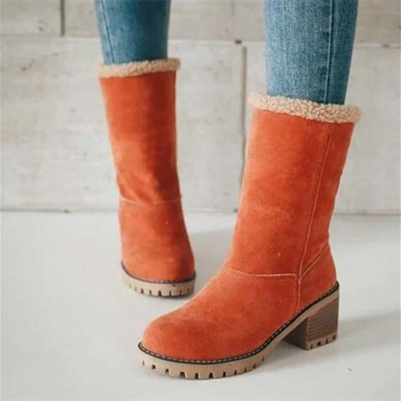 Sexy Women Winter High Heel Shoes 2020 Mid Calf Thick Heel Furry Suede Boots Pumps Comfortable Round Toe Plus Size Snow Boots
