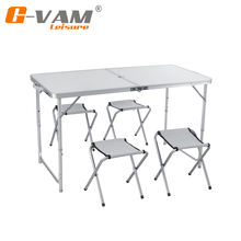 Outdoor furniture aluminum folding camping table and chair set