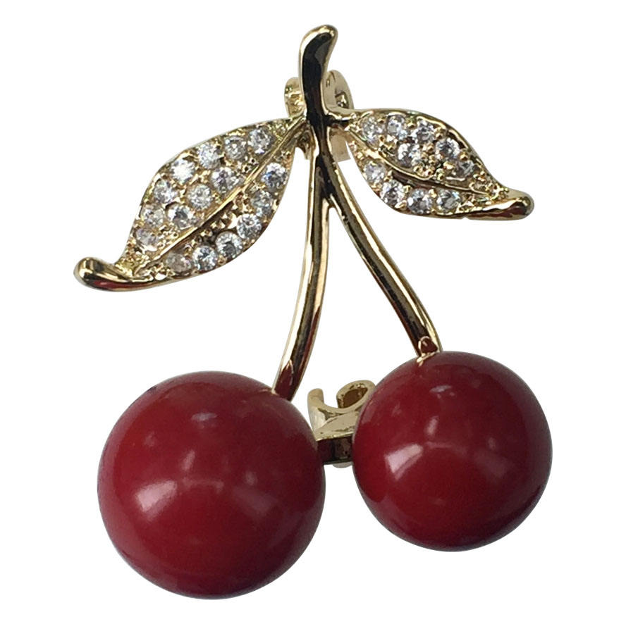 Fashion Micro-Set Zircon Red Cherry Brooch Men Women Clothes Fruit Rhinestone Brooch Jewelry Suit Accessories