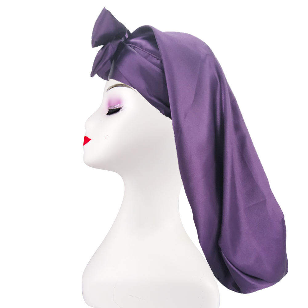 2020 Amazon hot sell women braid bonnet for sleeping with ties satin edge pocket bonnet