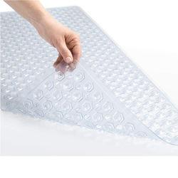 Pvc XL code shower square bathroom bath mat with drain hole, suction cup