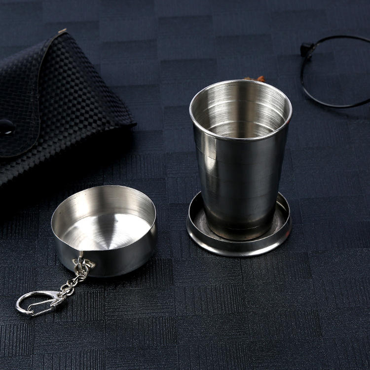 wholesale promotional gifts Economic Scalable Folded 100ml 4oz stainless steel tumbler for water with Key Chain