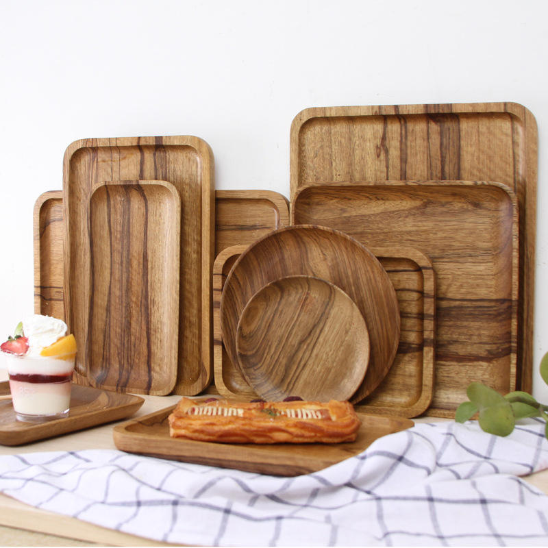 Dinner ware restaurant plate Ebenanceae wood dish wholesale for Coffee and Cake Shop specialized plates