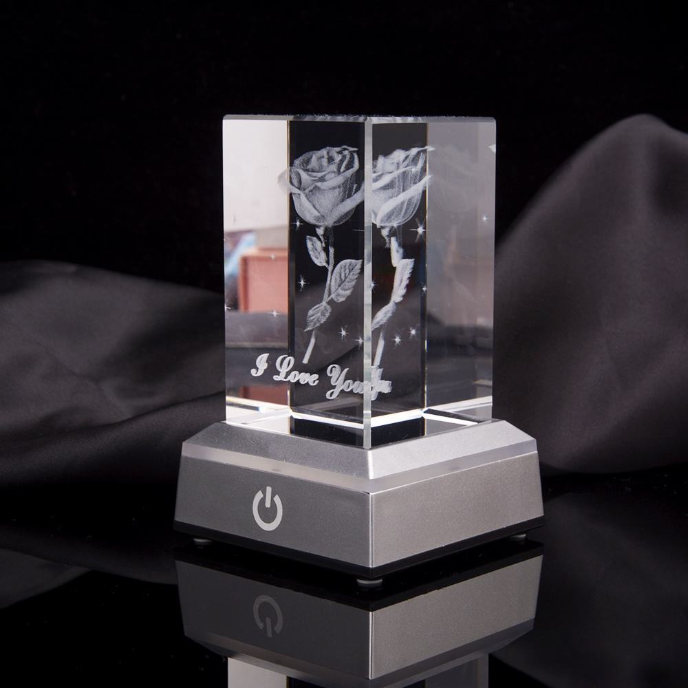 HBL Figure Engraving Block With Base/crystal Cube/crstal Blacnk Light Glass Led 3d Laser Crystal For Valentine's Day