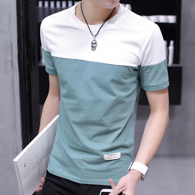 New style man patchwork summer boy tops short sleeve t-shirt