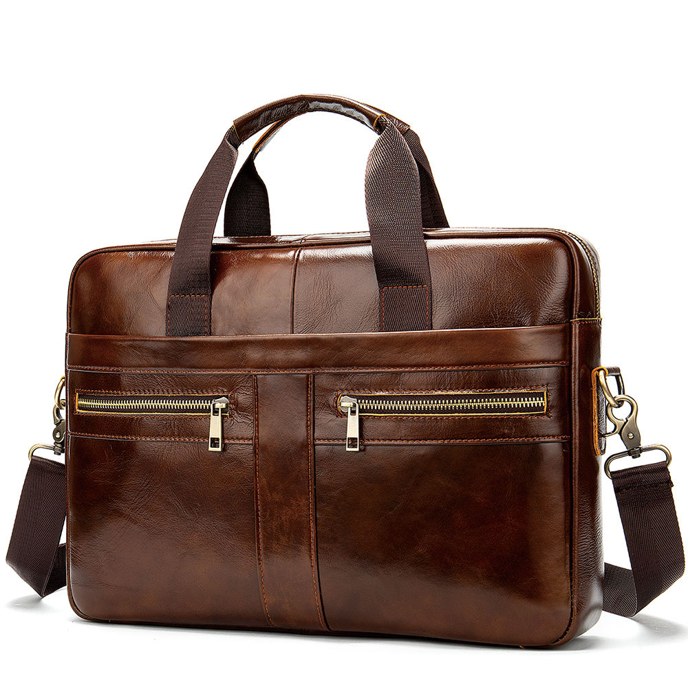 Business Laptop waterproof computer Handbag Coffee Men Bag Soft Sided Leather Briefcase