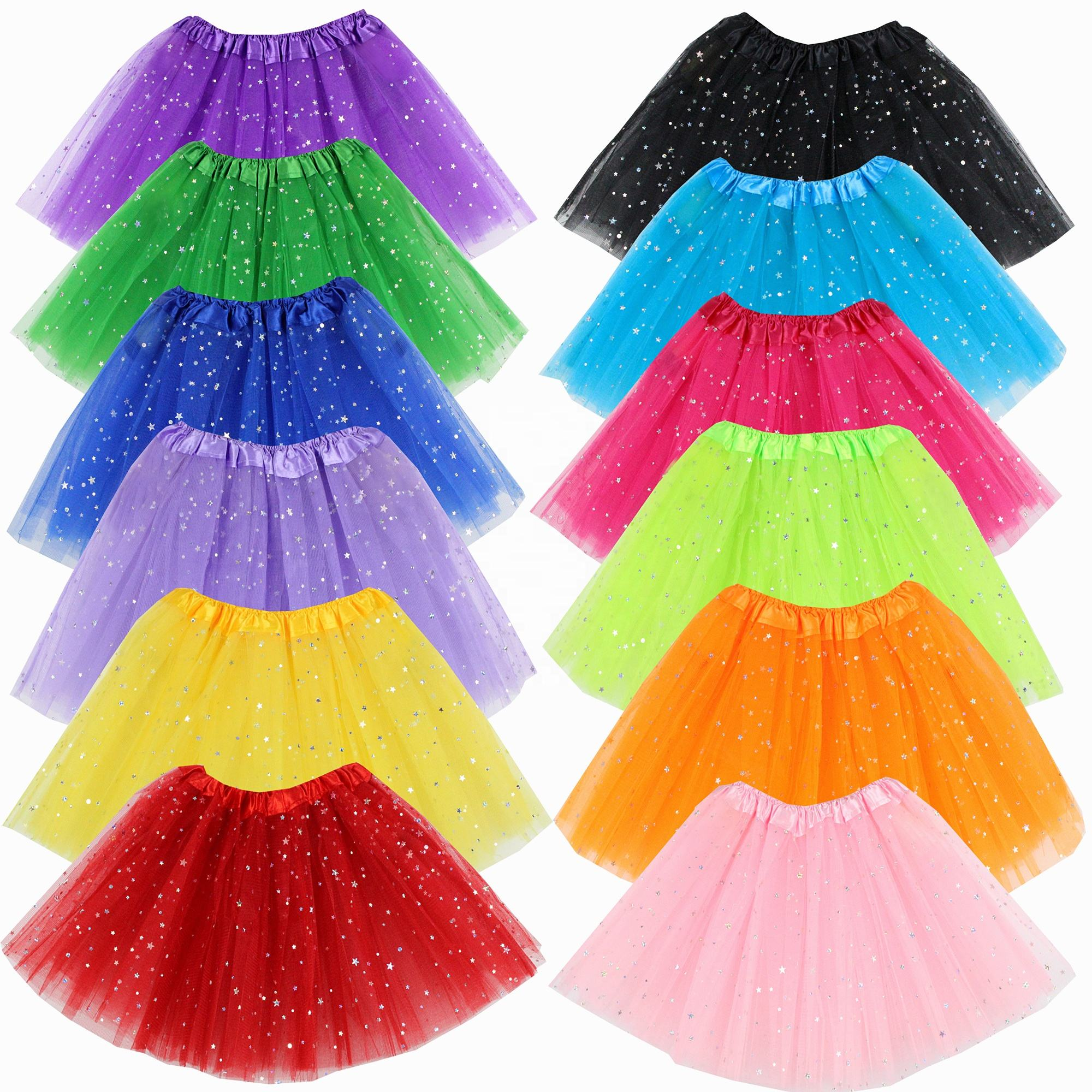 Children and Girl's 3 Layers Star Sequin Ballet Skirt Princess Sparkling Dress-up Tutu