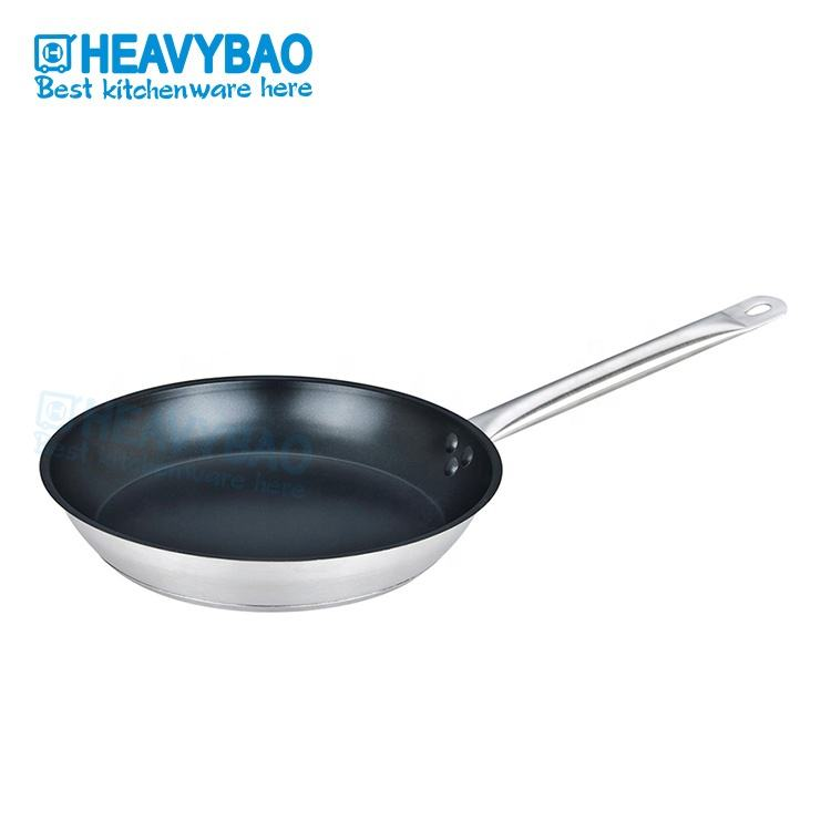 Heavybao Long Handle Different Size Kitchen Stainless Steel Non Stick Coating Frying Pan