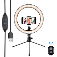 10 Inch Desktop selfie ring light with cell phone holder stand &remote shutter for selfie