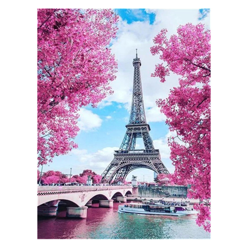 Looking Eiffel Tower through cherry blossoms 5d diy diamond paintings