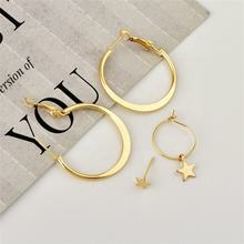 Fashion new creative trend five-pointed star stud combination alloy dainty Earrings korean Fashion Jewelry