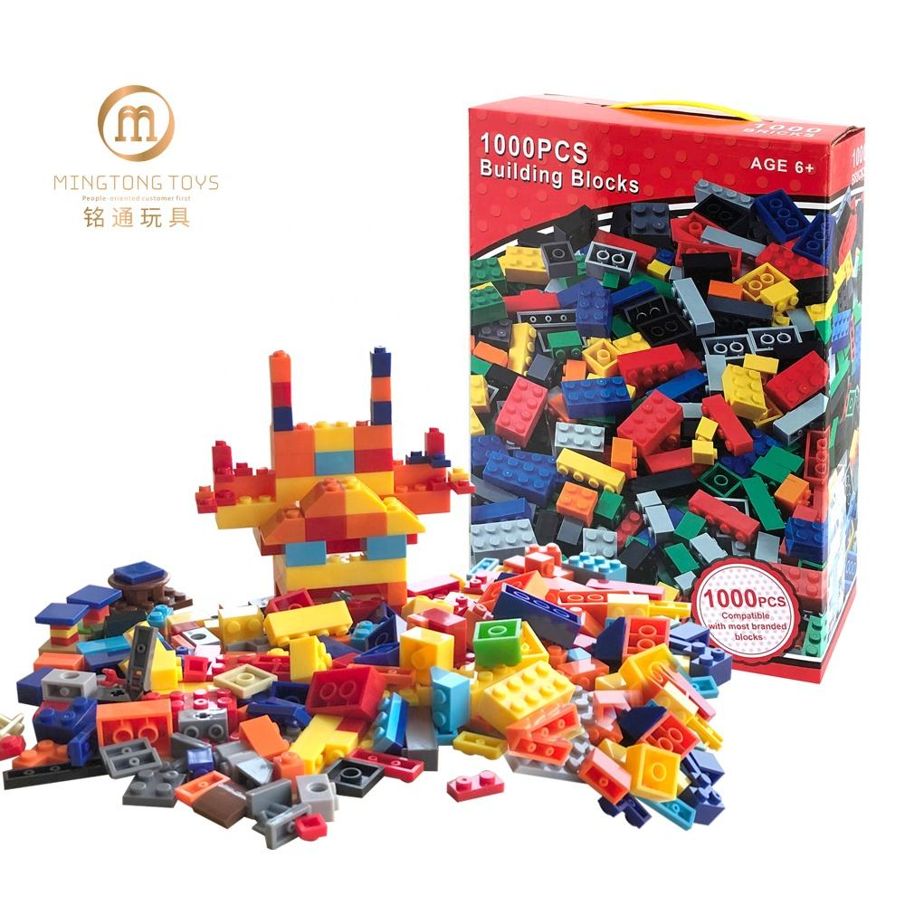 EN71 CE educational 1000pcs ABS plastic assembly set of puzzle plate technic digital castle building blocks toys for children