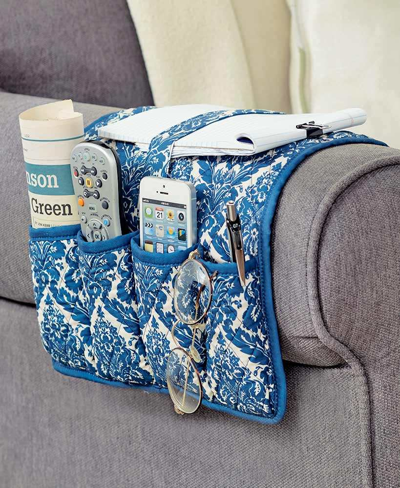 Chair quilted armrest cover storage bags