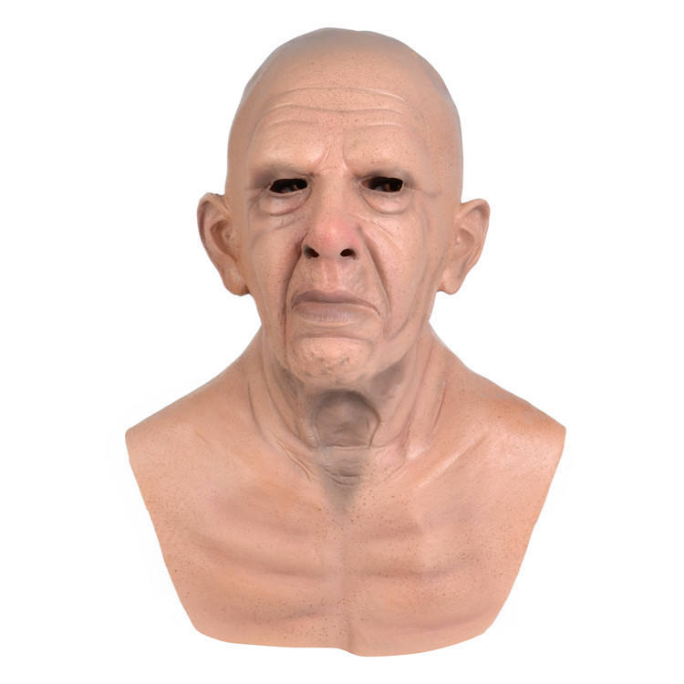 Real facial whole face customized Party Horror halloween latex Bare old Bald head human man mask
