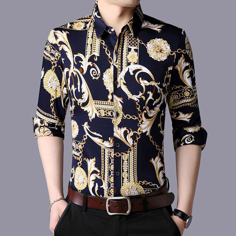 Fashion 100% Silk Thin Style Men's Long Sleeve Printed Shirt