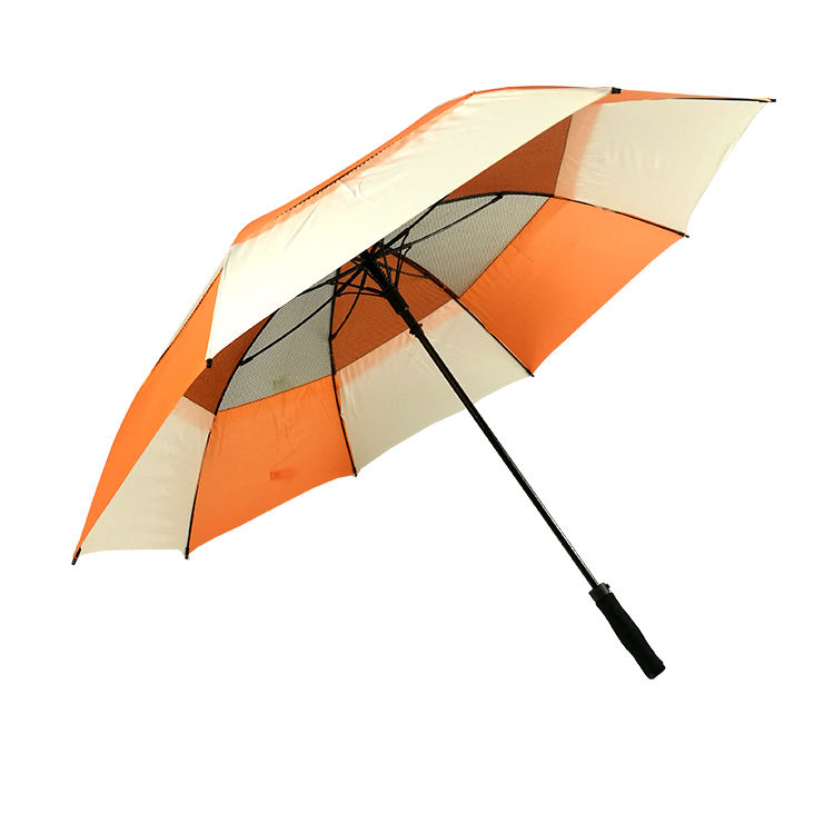 New inventions in china high quality windproof structure with fiberglass fibs golf umbrellas with logo prints