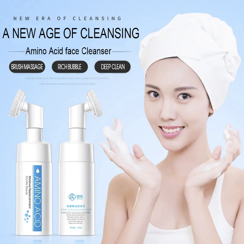 Custom Wholesale Private Label Women Deep Cleaning Amino Acid Facial Foaming Washing Pore Face Cleanser with Soft Brush