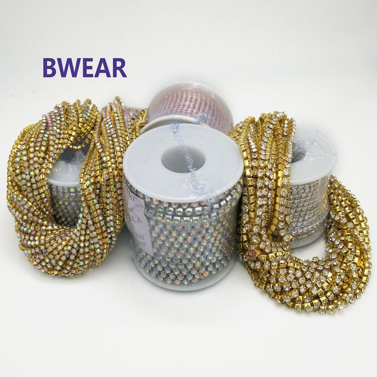 Wholesale Garment Accessories Trimming Crystal Silver Cup Chain Roll Rhinestone Fabric