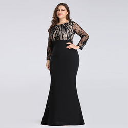 ELPR0000463 in stock mother dress long sleeves black lace ap