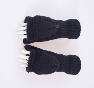 Women's fashionable knitted Hemp flowers-pointed gloves winter women's fleece-lined thickened warm half-finger