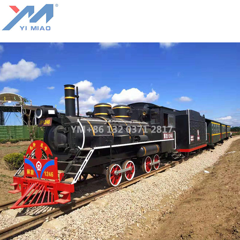 Big track tourist train for resort transportation train on rail for sale